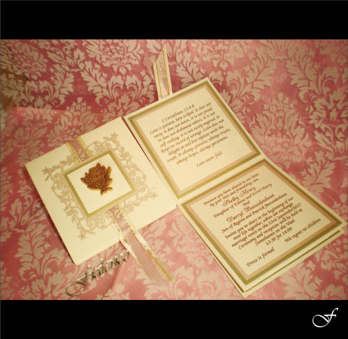 Wedding Invitations With Pink & Gold Ribbon By Fralenco