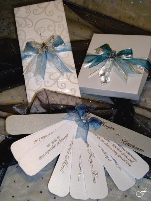 Fan Wedding Invitation Shape with Blue Ribbon in a Set by Fralenco