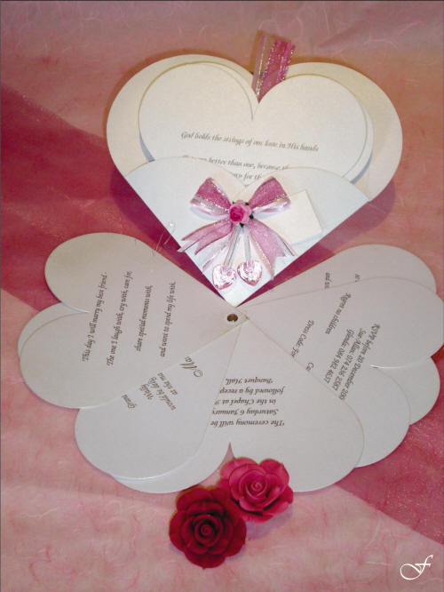 Shaped & Laser Cut Wedding Invitations with Heart Shaped Cards by Fralenco