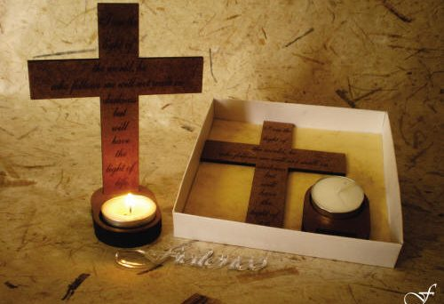 Tea Lights Cross with Verse - Fralenco