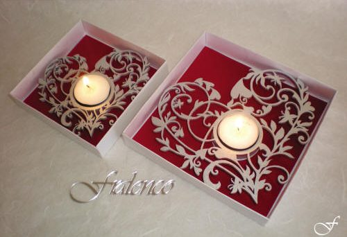Heart Shaped Tea Lights - With Curls by Fralenco