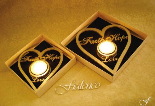 Heart Shaped Tea Lights - Faith - Hope - Love by Fralenco