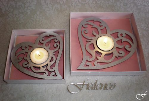 Heart Shaped Tea Lights - Pink Backing by Fralenco