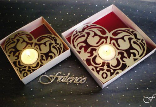 Heart Shaped Tea lights - Red Backing by Fralenco